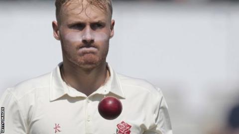 Matt Parkinson in action for Lancashire in the County Championship