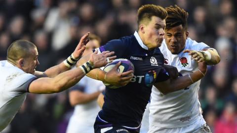 Huw Jones beats Mike Brown and Anthony Watson to score Scotland's third try
