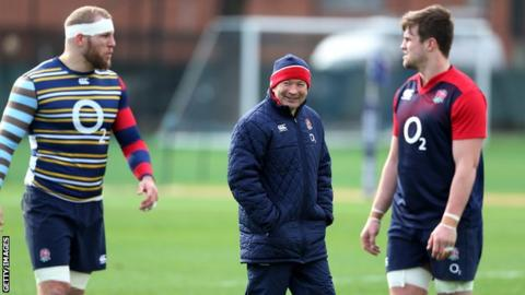 James Haskell (left), Eddie Jones (centre) and Jack Clifford at an England training session