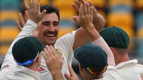 Australia's Mitchell Starc celebrates a wicket