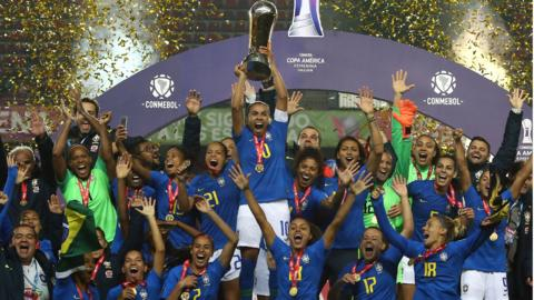 Brazil women's national football team celebrate winning the Copa America