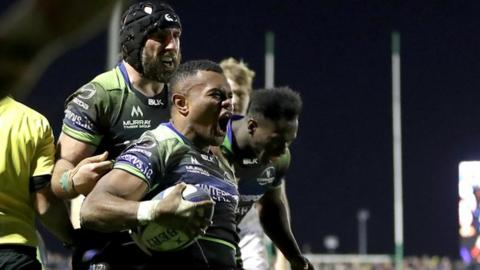 Naulia Dawai celebrates his try for Connacht
