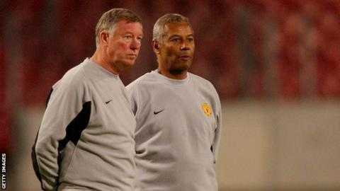 Former Manchester United Manager Sir Alex Ferguson with ex youth coach Fancisco Filho