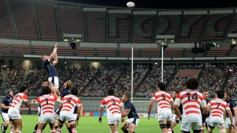 A Scottish lineout against Japan