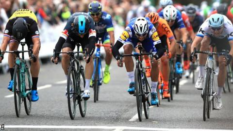 Gaviria (second from right) held on in a thrilling finish