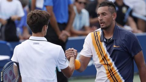Nick Kyrgios receives on-court pep talk from US Open umpire