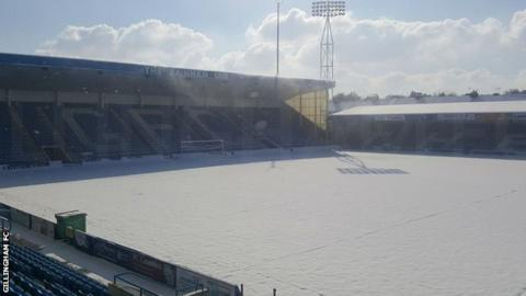 Snow-covered Priestfield Stadium pitch forces Gillingham v Rotherham to be abandoned