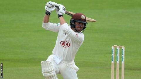 Surrey batsman Rory Burns plays a shot