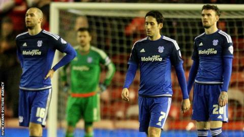 Cardiff City players following the defeat at Middlesbrough