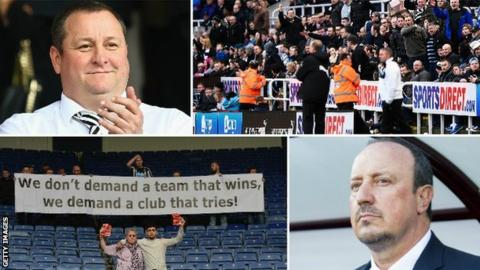 Mike Ashley, Newcastle fans, protest banner and Rafa Benitez
