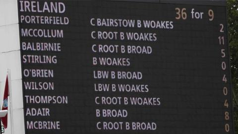 The scoreboard says it all as Ireland fall to the lowest Test total ever at Lord's