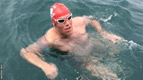 Andrew Rees during his swim across the Channel