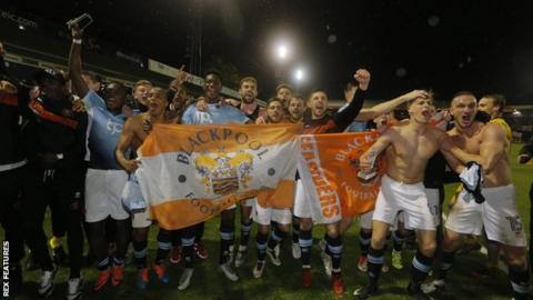Blackpool's players celebrate