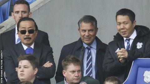Mehmet Dalman (centre) with Cardiff City owner Vincent Tan (left) and chief executive Ken Choo