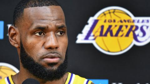 LeBron James at the Lakers' media day