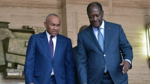 Caf President Ahmad with the President of Ivory Coast, Alassane Ouattara