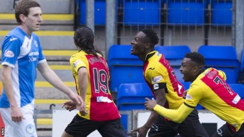 Partick Thistle celebrate Abdul Osman's winner