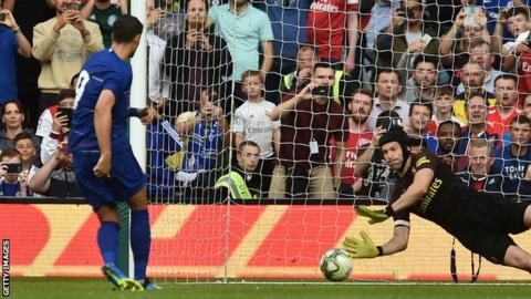 Alvaro Morata's penalty is saved by Petr Cech