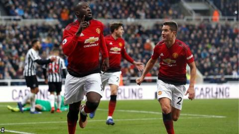 Romelu Lukaku celebrates scoring for Manchester United against Newcastle United on 2 January