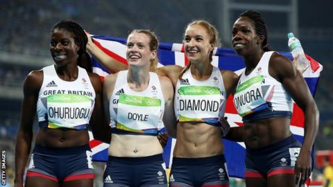 Britain's 4x400m women's relay team from Rio 2016