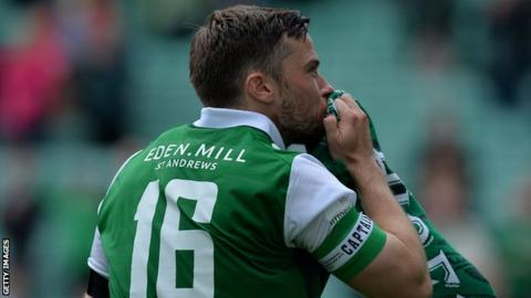 Hibs' Lewis Stevenson sheds a tear in his testimonial against Sunderland