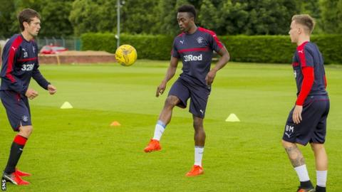 Joe Dodoo training with Rangers