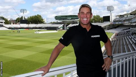 Former Australia spinner Shane Warne poses at Lord's after being announced as coach of The Hundred franchise based there