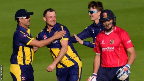 Wagg celebrates the wicket of Nick Browne