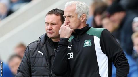 Craig Brewster and Derek Adams on the touchline