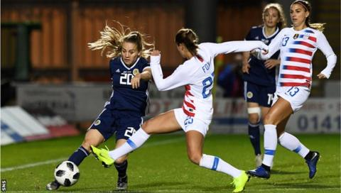 Fiona Brown with the ball against the USA