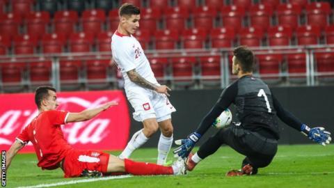 Patryk Klimala playing for Poland Under-21s