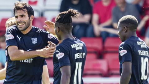 Sofien Moussa celebrates scoring for Dundee against Stirling Albion