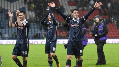 Ross County celebrate their semi-final win over Celtic