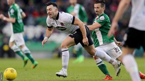 Richie Towell tries to burst away from Cork's Liam Miller in the FAI Cup Final