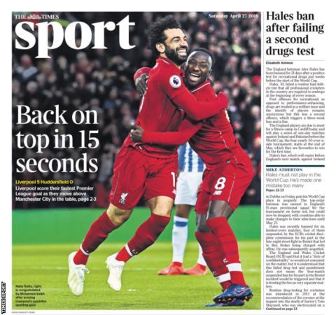 Saturday's Times Sport,