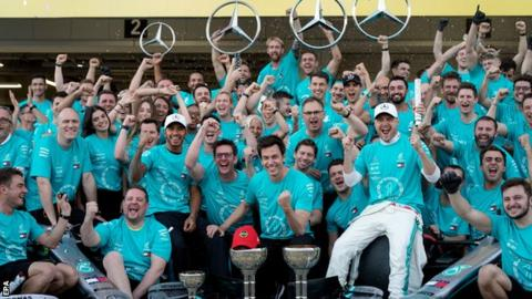Mercedes celebrate a sixth world championship