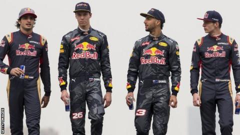 Daniel Ricciardo of Australia and Red Bull Racing, Daniil Kvyat of Russia and Red Bull Racing, Carlos Sainz of Spain and Scuderia Toro Rosso and Max Verstappen of Netherlands and Scuderia Toro Rosso