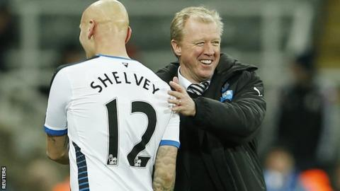 Newcastle manager Steve McClaren (right) and January signing Jonjo Shelvey