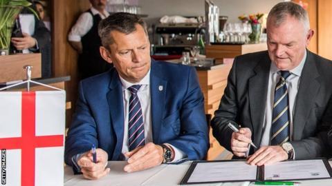 FA chief executive Martin Glenn (left) with chairman Greg Clarke
