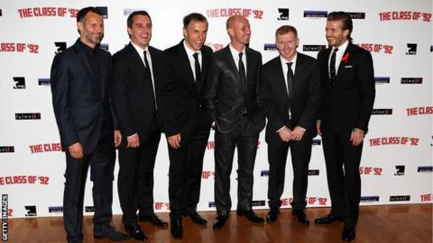 Ryan Giggs, Gary Neville, Phil Neville, Nicky Butt, Paul Scholes and David Beckham at the world premiere of the 'Class of 92' in 2013