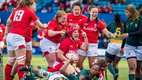 Wales captain Carys Phillips celebrates scoring during the 2018 autumn series win over South Africa