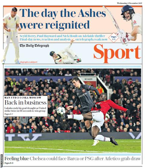 Wednesday's Telegraph reflects Romelu Lukaku's return to goalscoring form
