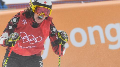 Kelsey Serwa celebrates winning ski cross gold