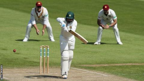 Pakistan batsman Haris Sohail plays a shot against Northamptonshire