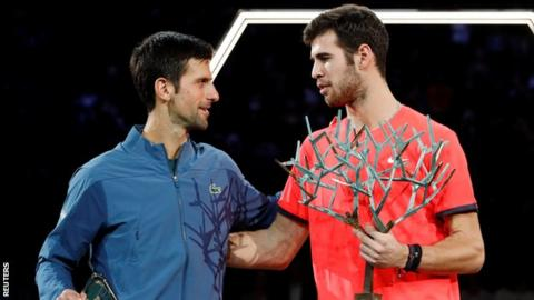 Novak Djokovic and Karen Khachanov on the Paris Masters podium