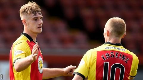 Scorers Liam Lindsay and Chris Erskine celebrate with Partick Thistle