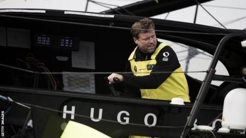 Alex Thomson on board Hugo Boss at the start of the Route du Rhum