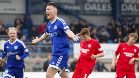 Rory McAllister celebrates with Peterhead