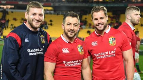 Finn Russell and Allan Dell (right) flank Scotland team-mate Greig Laidlaw on midweek Lions duty