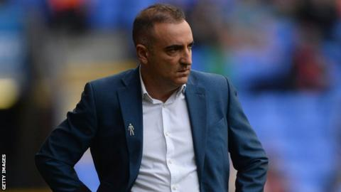 Sheffield Wednesday boss Carlos Carvalhal reacts as his side lose to Bolton